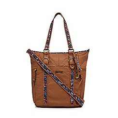 Mantaray - Light tan floral inlay shoulder bag