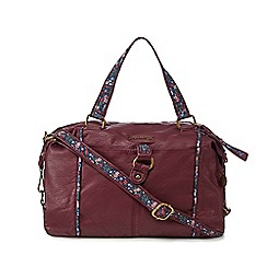 Mantaray - Dark red floral inlay bowler bag