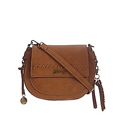 Mantaray - Tan whipstitch cross body bag