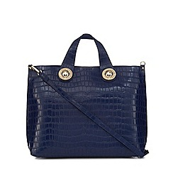 Versace Jeans - Blue croc-effect large tote bag