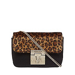 Versace Jeans - Black leopard print cross body bag