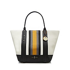 J by Jasper Conran - White webbed stripe shopper bag