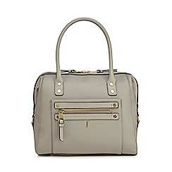 J by Jasper Conran - Grey studded zip detail bowler bag