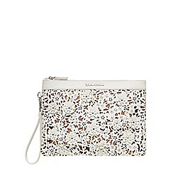 RJR.John Rocha - White floral laser cut clutch bag