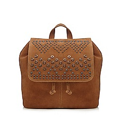 Nine by Savannah Miller - Tan suede eyelet studded backpack