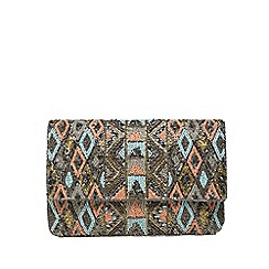 Nine by Savannah Miller - Silver Aztec embellished clutch bag