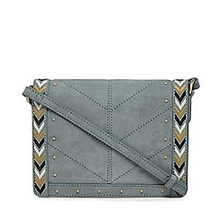 Nine by Savannah Miller - Dark grey suede chevron edge cross body bag