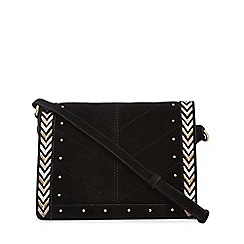 Nine by Savannah Miller - Black suede chevron edge cross body bag