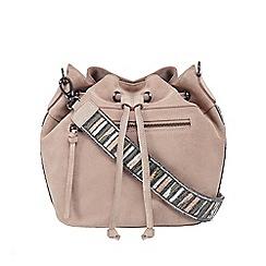 Nine by Savannah Miller - Pale pink suede beaded edge duffle bag