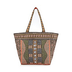 Nine by Savannah Miller - Grey beaded cotton tote bag