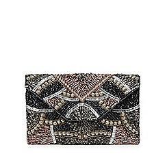 Nine by Savannah Miller - Black bead embellished envelope clutch bag