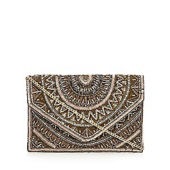 Nine by Savannah Miller - Gold bead embellished envelope clutch bag