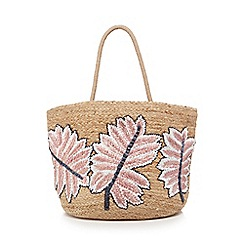 Nine by Savannah Miller - Natural straw floral embroidered tote bag