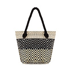 Nine by Savannah Miller - Black embroidered shopper bag