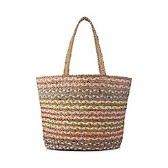 Nine by Savannah Miller - Multi-coloured stripe jute shopper bag
