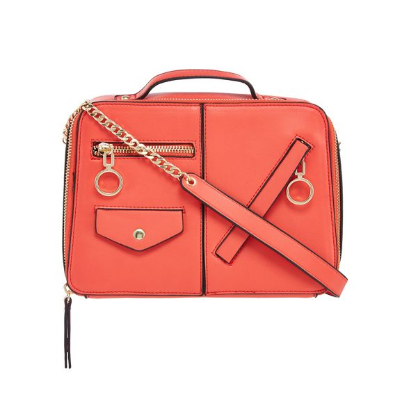 Red detail Herring bag body Coral cross zip 00Brxa