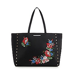 Red Herring - Black floral embroidered studded shopper bag