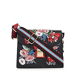 Red Herring - Black floral embroidered cross body bag