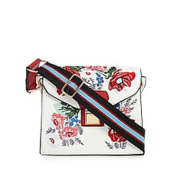 Red Herring - White floral embroidered cross body bag