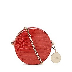 Faith - Orange croc-effect circle cross body bag