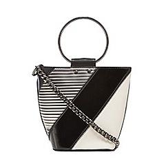 Faith - Black block striped metal handle bucket bag