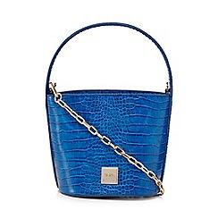 Faith - Blue croc-effect bucket bag
