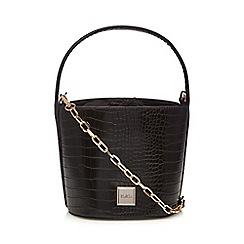 Faith - Black croc-effect bucket bag