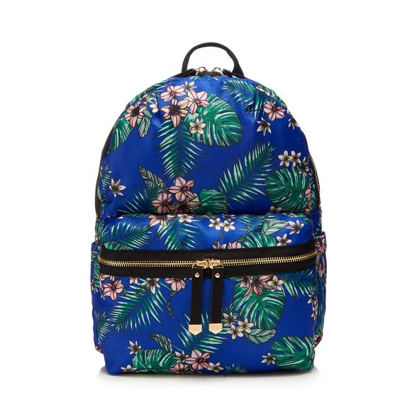 Herring Blue nylon backpack zip Red floral zRHfvwwxq