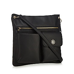 The Collection - Black double pocket shoulder bag