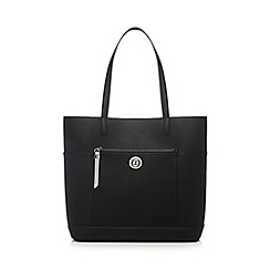 The Collection - Black front zip shopper bag
