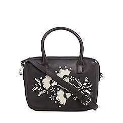 The Collection - Black leather floral contrast small grab bag