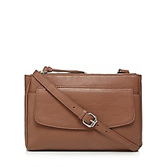 The Collection - Tan leather zip top cross body bag
