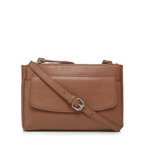 Tan body leather bag The Collection zip top cross vqwRFx