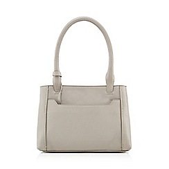 The Collection - Grey leather grab bag with a purse