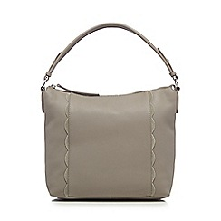 The Collection - Grey leather scallop edge shopper