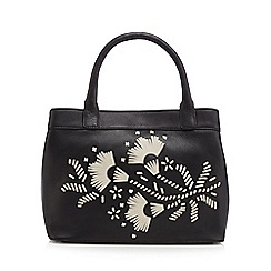 The Collection - Black leather floral contrast tote bag