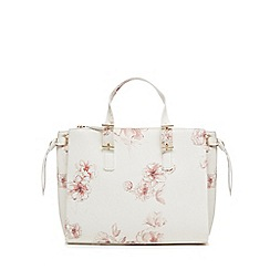 The Collection - White floral print tote bag