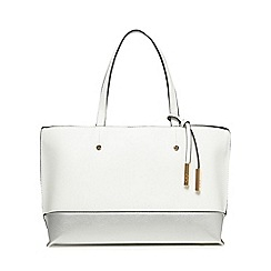 The Collection - White colour block tote bag