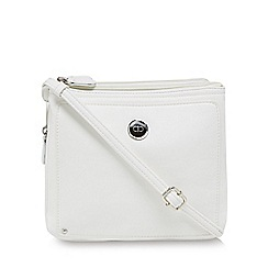 The Collection - White three compartment cross body bag