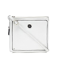 The Collection - Silver three compartment cross body bag