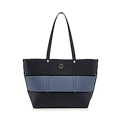 The Collection - Navy panel detail shopper bag