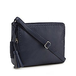 The Collection - Navy leather tassel cross body bag