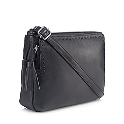 The Collection - Black leather tassel cross body bag