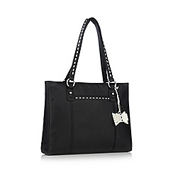 The Collection - Black leather stitch bow tote bag
