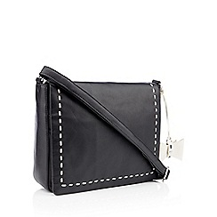 The Collection Black Sch Bow Leather Cross Body Bag