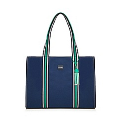Principles - Navy canvas striped detail tote bag