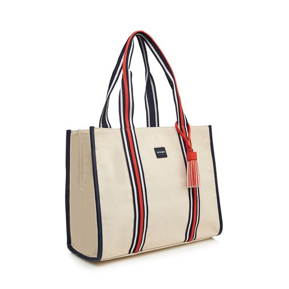 bag Principles detail striped Multicoloured canvas tote wwROHqApv