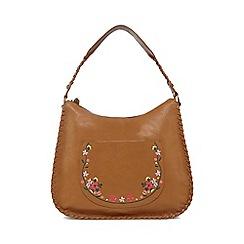 Mantaray - Tan floral embroidered shoulder bag