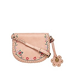 Mantaray - Light pink floral embroidered saddle bag