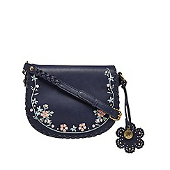 Mantaray - Navy floral embroidered saddle bag